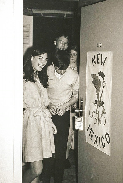 1968_05-03; mock nominating convention representing new mexico; kathy zahnle, jim johnson, david tooze, jeff vessey