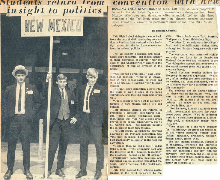 1968_05-09; mock nominating convention representing new mexico; ken johnson, craig taunton, mike modlin