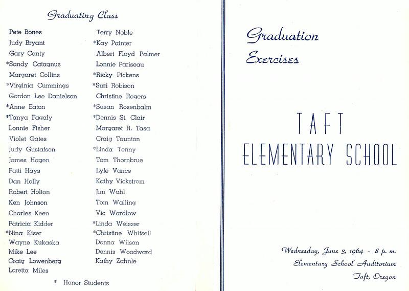 1964; 8th grade  graduation; taft grade school; program